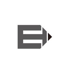 Letter e education pen geometric design vector