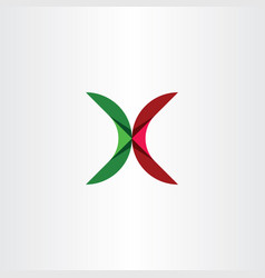 letter icon x green red sign logo vector image