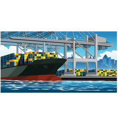 Loading containers on a large container ship vector