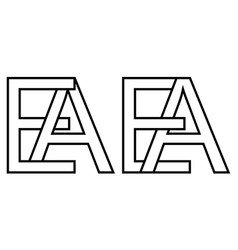 logo ae and ea icon sign two interlaced letters a vector image