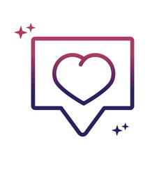 love heart speech bubble social media gradient vector image