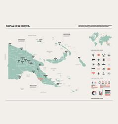 map papua new guinea country with division vector image