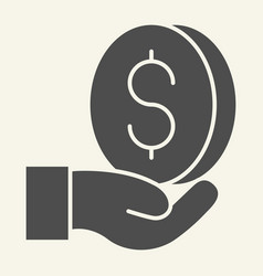 money in hand solid icon dollar in palm vector image