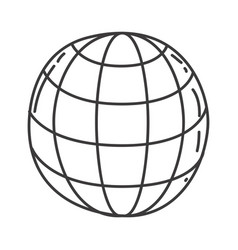 Monochrome contour of sphere with meridians and vector