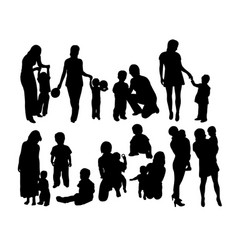 Mother with son silhouettes vector