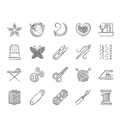 Needlework charcoal draw line icons set vector