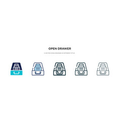 open drawer icon in different style two colored vector image