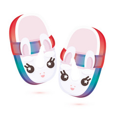 pair home cute children slippers in form vector image
