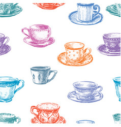 Pattern of the tea cups vector