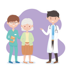 Physician nurse and grandmother characters vector
