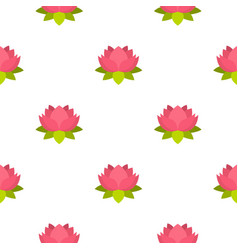 Pink lotus flower pattern seamless vector