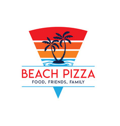 Pizza logo with sunset beach view vector