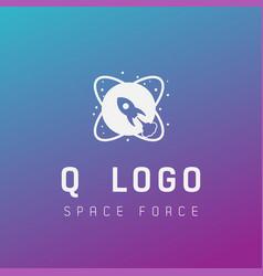 Q initial space force logo design galaxy rocket vector