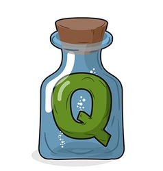 Q laboratory bottle Letter in magical vessel with vector image