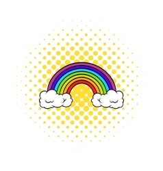 Rainbow icon comics style vector image