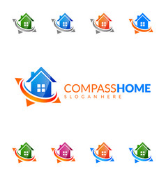 Real estate logo design simple realty with pin vector