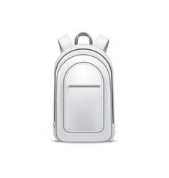 realistic detailed 3d white blank school backpack vector image