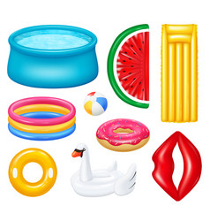 Realistic inflatable pools accessories set vector