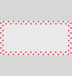 Rectangle border made of red animal paw prints vector