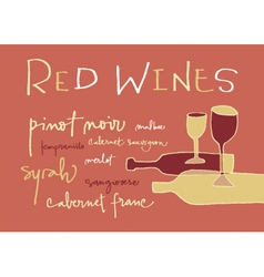 Red wines varieties vector image