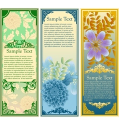 Retro floral banners set vector