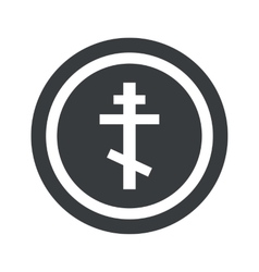 Round black orthodox cross sign vector