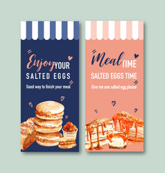 Salted egg flyer design with macarons bread crepe vector