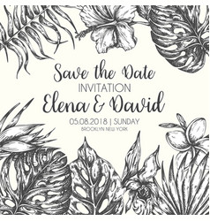 Save the date tropical leaves trendy summer vector