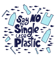 say no to single use plastic vector image