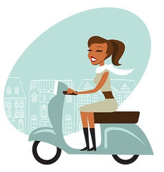 Scooter girl vector