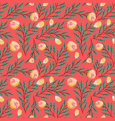 seamless pattern with roses and abstract flowers vector image