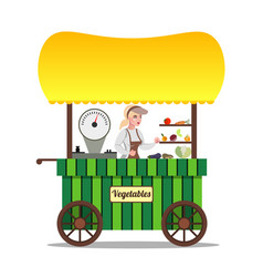 Seller of vegetables on the market vector