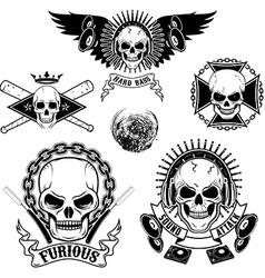 set emblems with skulls vector image