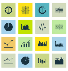 Set graphs diagrams and statistics icons vector