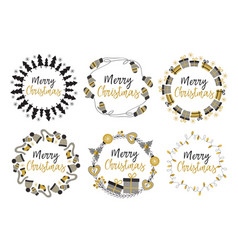 set of isolated christmas gold frames vector image