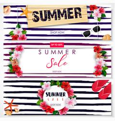 Set of summer sale banner design vector
