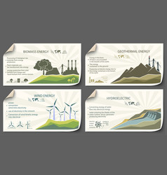 Set vintage renewable energy infographics vector