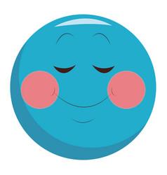 shy smile chat emoticon vector image