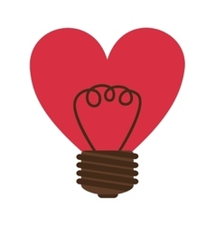 silhouette contour bulb in heart shape vector image
