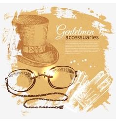 Sketch gentlemen accessory vintage background vector