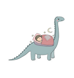 sleeping girl and dinosaur good night sweet vector image