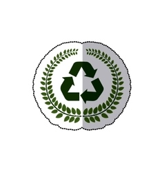 Sticker arch of leaves with recycled symbol vector