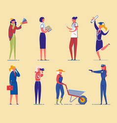 students and working women diverse characters set vector image
