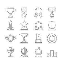 successful reward icon winner cups and trophies vector image
