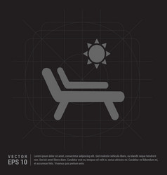 Sun bathe on the chaise longue with umbrella icon vector