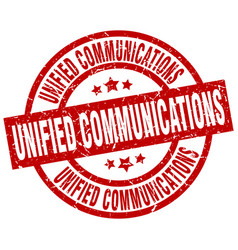 Unified communications round red grunge stamp vector