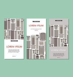 urban house banners set with various multistorey vector image