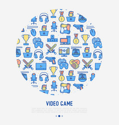 Video game concept in circle with thin line icons vector
