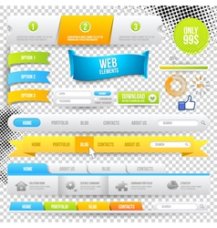 Web elements buttons and labels vector
