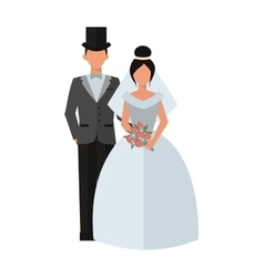 Wedding couple people on white vector image